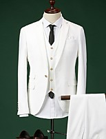 Suits Slim Fit Notch Single Breasted One-button Cotton Solid 3 PiecesStraight Flapped None (Flat Front)Blue /