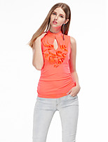 Women's Going out Simple Summer T-shirt,Solid Off Shoulder Sleeveless White / Orange Polyester / Spandex Thin
