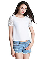 Women's Casual/Daily Cute Summer T-shirt,Solid Round Neck Short Sleeve White Others Medium
