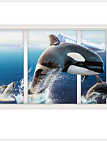 New Design 3 d Wall Stickers Whale Leap Landscape Decorative Home decal ,PVC Removable Home Decoration
