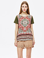 Women's Going out Vintage / Simple Summer T-shirt,Print Round Neck Short Sleeve Polyester Thin