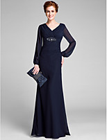 Lanting Bride Sheath / Column Mother of the Bride Dress Floor-length Long Sleeve with Crystal Detailing / Criss Cross