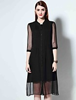 Boutique S Women's Going out Sophisticated Loose Dress,Solid Stand Above Knee ½ Length Sleeve