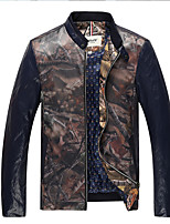 Men's Long Sleeve Casual / Sport JacketPU / Polyester Solid Black / Blue / Green / Red