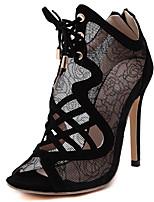 Women's Shoes Suede Summer Open Toe Sandals Dress Stiletto Heel Lace-up Black / Almond
