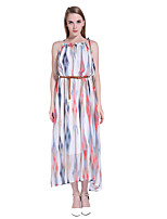 ADEAST Women's Going out / Casual/Daily / Beach Boho Loose Dress,Striped Strap Midi Sleeveless Multi-color