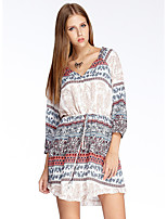 Women's Going out Simple Loose Dress,Print V Neck Above Knee ¾ Sleeve White Polyester Summer