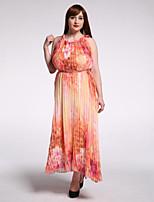 Women's Beach / Plus Size Boho Swing Dress,Print Round Neck Maxi Sleeveless Yellow Cotton Summer