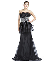 Formal Evening Dress Trumpet / Mermaid Strapless Sweep / Brush Train Organza with Beading / Crystal Detailing / Draping