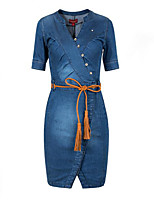 Women's Simple Street chic Solid Ruched Casual Plus Size Slim Hin Thin Sheath V Neck Denim Dress