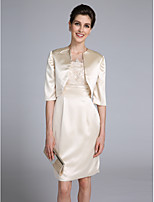 Lanting Bride Sheath / Column Mother of the Bride Dress Knee-length Half Sleeve Satin with Appliques / Lace