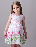 Girl's Casual/Daily Floral Dress,Cotton Summer / Spring White