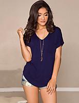 De las mujeres Simple Casual/Diario Verano Camiseta,Escote en Pico Un Color Manga Corta Algodón Azul / Rosa / Gris Medio