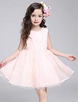 A-line Knee-length Flower Girl Dress-Cotton / Lace / Satin / Tulle Sleeveless
