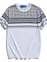 Men's Print Casual / Sport T-Shirt,Polyester Short Sleeve-White