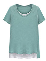 Women's Summer Daily/Casual/Plus Sizes Fake Piece Round Neck Short Sleeve T-shirt Blouse Tops