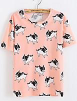 Women's Geometric Blue / Pink T-shirt,Round Neck Short Sleeve
