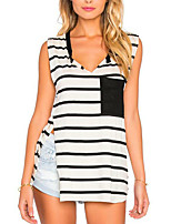Women's Casual/Daily Simple Summer T-shirt,Striped V Neck Sleeveless Black Others Medium