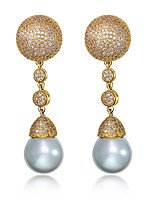 Simple Imitation pearls Drop Earrings Fashion Platinum plated & 18K Gold Plated White Cubic zircon Wedding Earring