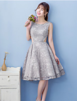 Knee-length Lace Bridesmaid Dress Ball Gown Jewel with Beading / Lace / Sash / Ribbon