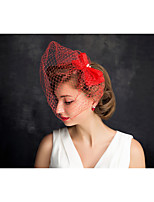 Women's Pearl / Net Headpiece-Special Occasion Fascinators 1 Piece Red Irregular 15