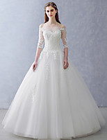 A-line Wedding Dress Floor-length Off-the-shoulder Tulle with Appliques / Beading / Crystal / Pearl