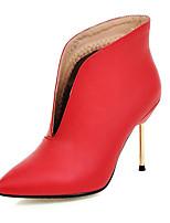 Zapatos de mujer-Tacón Stiletto-Puntiagudos / Botas a la Moda-Botas-Boda / Fiesta y Noche / Vestido-Semicuero-Negro / Rosa / Rojo /