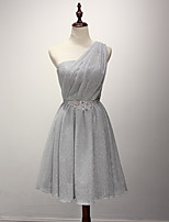 Short / Mini Crepe Bridesmaid Dress A-line One Shoulder with Side Draping