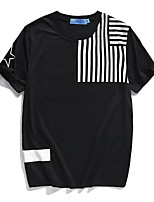 Men's Print Casual / Sport T-ShirtCotton / Polyester Short Sleeve-Black