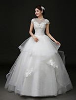 Ball Gown Wedding Dress Court Train Jewel Lace / Tulle with Appliques / Beading / Bow