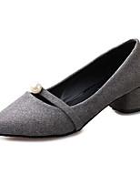 Damen-High Heels-Lässig-Vlies-Blockabsatz-Absätze-Schwarz / Grau / Orange