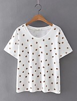 Women's Casual/Daily Sexy Summer T-shirt,Print Round Neck Short Sleeve White Cotton / Linen Thin