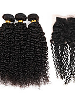Brazilian Hair 3 Bundles with 1 Piece Lace Closure 4