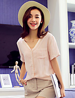 Wake Up® Women's V Neck Short Sleeve Shirt & Blouse Pink-CS16096
