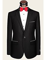 Suits Tailored Fit Notch Single Breasted One-button Wool Solid 2 Pieces Straight Flapped None Black