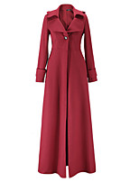 Women's Formal Simple Coat,Solid Peter Pan Collar Long Sleeve Winter Blue / Red / Black / Green Polyester Thick