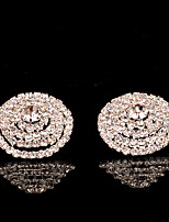 Stud Earrings Women's Plated Silver Earring Rhinestone