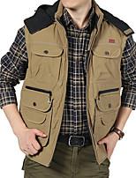 Men's Sleeveless Casual Jacket,Cotton Patchwork Green