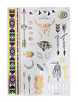 1pc Flash Tattoo Metallic Gold Silver Temporary Owl Feather Style Waterproof Tattoo Sticker YH-112