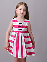 Girl's Casual/Daily Striped Dress,Cotton / Polyester All Seasons Pink