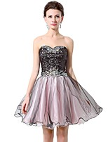Cocktail Party Dresses A-line Sweetheart Short / Mini Tulle / Sequined with Beading / Ruffles / Sequins