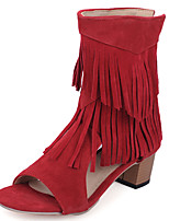 Women's Shoes Chunky Heel Open Toe Fringe Zip Sandal More Color Available