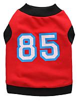 Gatos / Perros Camiseta Rojo / Negro Verano Letra y Número Moda, Dog Clothes / Dog Clothing-Pething®