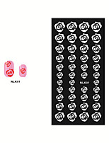 4pcs Nail Stencil Rose Flower Pattern Sexy Women Manicures Stamping Art Template Nail Sticker