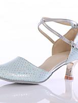Women's Latin Leatherette Heels Indoor Customized Heel Blue Customizable