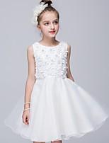 Linea-A Al ginocchio Abito da damigella d'onore bambina - Cotone / Organza / Raso Senza maniche Con decorazione gioiello con Fiore (i)