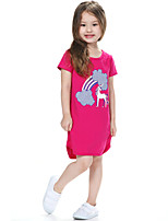 Girl's Pink / Red Dress,Print Cotton Summer