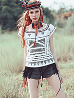 MizhenWomen's Print White T-shirt,Round Neck Short Sleeve