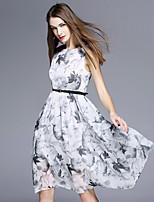 BOMOVO® Women's Round Neck Sleeveless Knee-length Dress-B16XQ3J