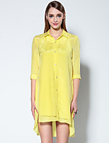Boutique S Women's Casual/Daily Simple T Shirt Dress,Solid Shirt Collar Above Knee ½ Length Sleeve Yellow Cotton Summer